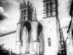 cathedral saint pierre de montpellier in gray scale
