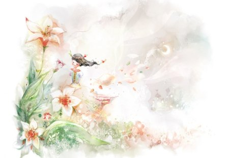 Among the Flowers - flowers, art, lady, fantasy