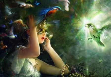 The Bird of Happiness - flowers, blue, abstract, face, pretty, art, women, yellow, girl, female, dark, fairy, diamond, butterflies, fantasy, green, painting, happy, ball, birds, light, star, 3d, lips, dreamy, wings, beautiful, mask, pink, buttrefly, butterfly, lady, woman, white, grey, red, fine art, detailed, 3d cg, black, colors, waman, special, bird, hot, arms, nature, fantasy girl