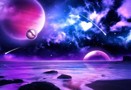 Purple Planets - heart, blue, pink, galaxies, moons, purple, planets, pretty, outerspace, white