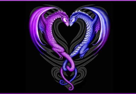 Intertwined Dragons - purple, black, blue, fantasy, dragon, Mythology, dragons