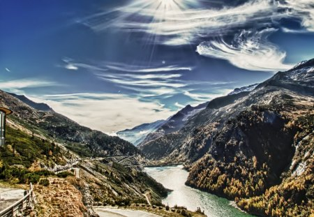 fantastic view of a dam in a valley hdr - valley, clouds, building, river, hdr, mountains, dam