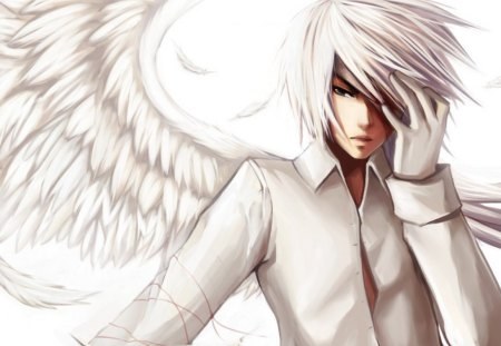 Lucifer - wings, male, boy, angel, fantasy, lucifer, white hair