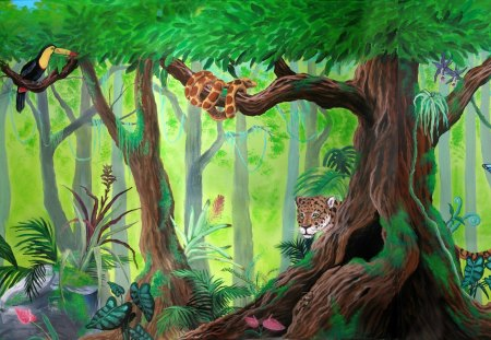 Cute rainforest mural fantasy abstract background for Amazon mural wallpaper