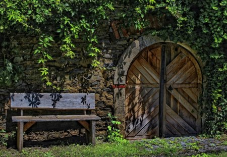 Wood Bench and Doorway - Wood Benches, Landscapes, Doors, Nature