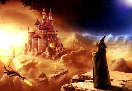 Fantastic World - wizard, sky, castle, dragon, night, flames