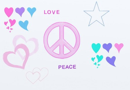 love and peace - backgrounds, pink, peace, peace sign, blue, hearts, heart, stars, teal, purple, wallpaper, white, love