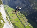base jumping in amazing valley in switzerland