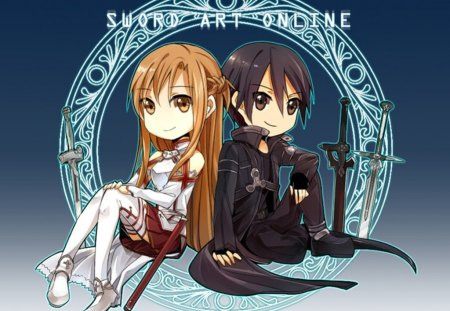 SAO - Chibi - boy, male, short hair, chibi, yuuki asuna, guy, anime, girl, yuuki, knight, female, kawaii, sao, asuna, sword art online, asuna yuuki, kirito, armor, long hair, cute, anime girl