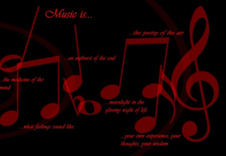 Music is... - music notes, black, abstract, text, red, music, quotes