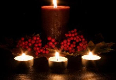 By Candlelight - berries, candles, romantic