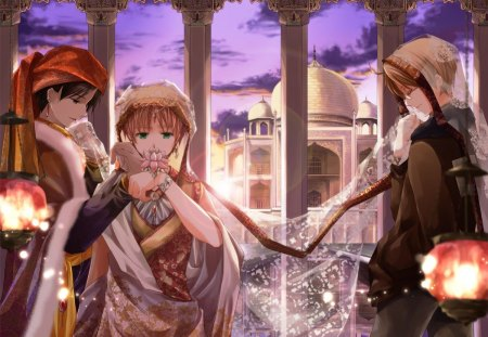 Arabian nights - hetalia, sky, veil, night, anime, girl, light, purple, castle, lantern, arabian
