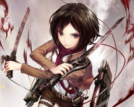 Mikasa Ackerman - short hair, chibi, Mikasa Ackerman, sexy, anime, girl, female, blood, white, bloody, mikasa, sinister, plain, warrior, cute, weapon, hd, angry, anime girl, brown hair, mad, hot, simple