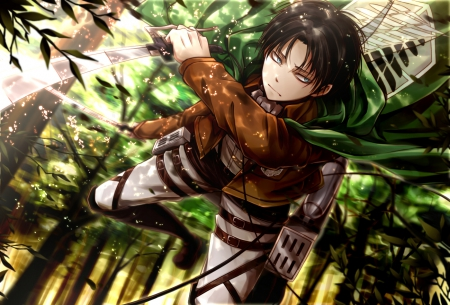 Shingeki no Kyojin - Eren, Cant think of a fourth, Boy, Green, Shingeki no Kyojin, Sword, Forest, Eren Jaeger, Jaeger