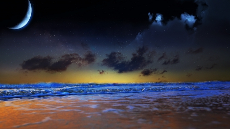 magnificent sky over sea - moon, sea, clouds, stars, waves