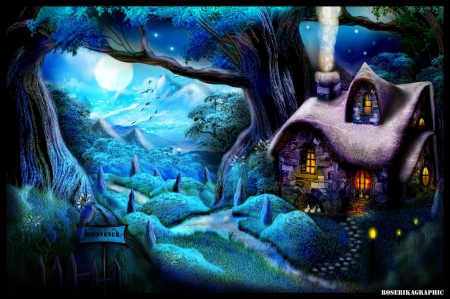✫Blue Night Cottage✫ - cool, blue, animals, plants, birds, stunning, trees, light, photoshop, mixed media, landscapes, grass, best of the best, cottage, colors, digital art, night, scenery, environment, attractions in dreams, purple, places, most downloaded, beautiful, flowers