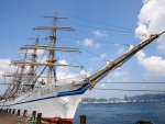 beautiful japanese tall ship in dock