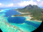 View out of plane of Tahiti French Polynesia
