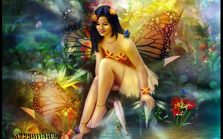 Butterfly Fairy - butterflies, flowers, fantasy, fairy