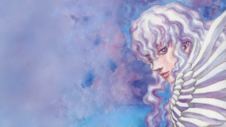 White Hawk - griffith, berserk, white hawk, sky, long hair, blue, hawk, white phoenix, anime, knight, heaven, bloody