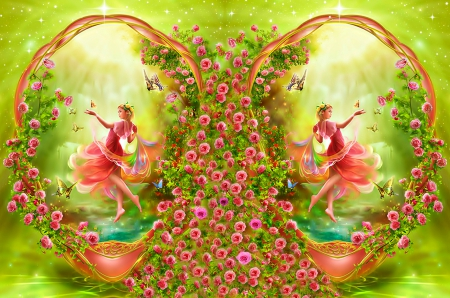 Pink Rose Garden Wallpaper pink rose garden - fantasy & abstract background wallpapers on