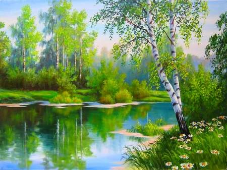Beautiful day in spring - Rivers & Nature Background ...