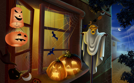 Horror Halloween - window, pumpkin faces, halloween, bats, night
