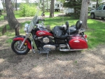 Red Victory Motorcycles at the park
