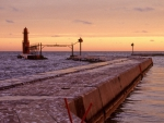 Algoma Pierhead Light at Sunset Kewaunee County Wisconsin