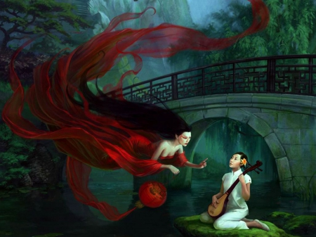 Music Fairy - musician, red, bridge, artwork
