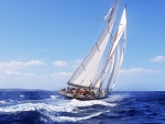 magnificent racing yacht on the high seas