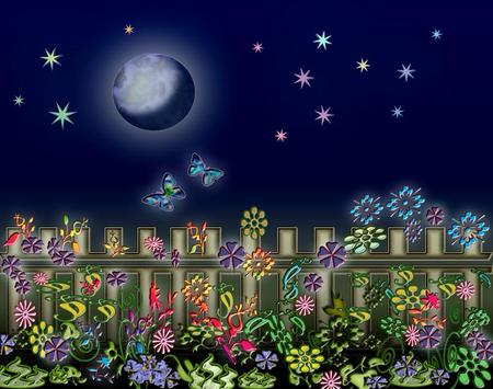 Night - flowers, fence, moon, abstract, butterflies, night, stars