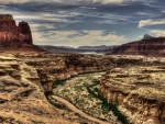 muddy river in a fantastic canyon hdr