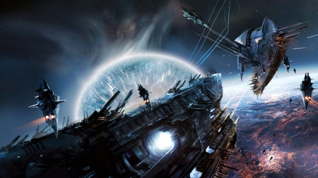Battlefield in Space - Planets, Spaceships, Battlefield, Digital Arts, Space