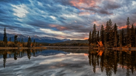 beautiful pyramid lake in jasper np canada - lake, mountains, sunset, clouds, reflection, bridge, trees