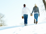 romantic walk through snow