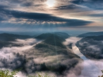 the saar river in germany im morning fog