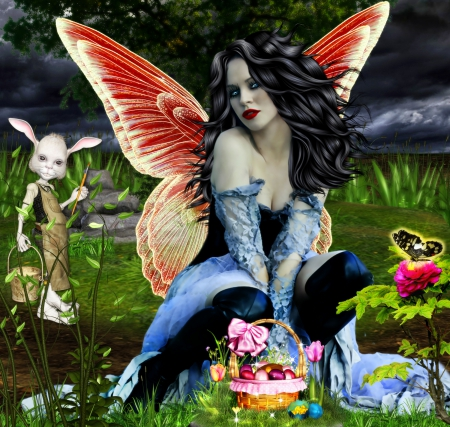 ~Easter Fairy~ - flowers, model, basket, angel, pretty, weird things people wear, girl, female, dark, bunny, fairy, fantasy, rose, trees, bow, eggs, wings, cool, love four seasons, animals, beautiful, easter, butterfly, lady, woman, grass, creative pre-made, digital art, colors, premade BG, photomanipulation, charm, plants, hair, rabbit, dress