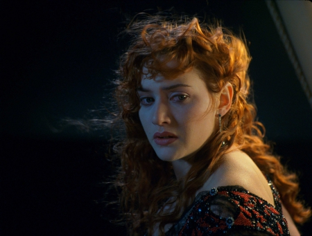 Titanic (1997) - movie, titanic, woman, actress, dark, night, kate winslet, beauty, girl, redhead