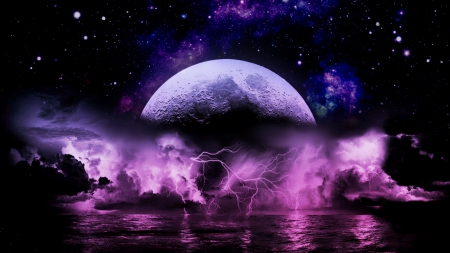 Moon Lightning Storm - COSMOS, ABSTRACT, ARTISTIC, NATURE, BEAUTY