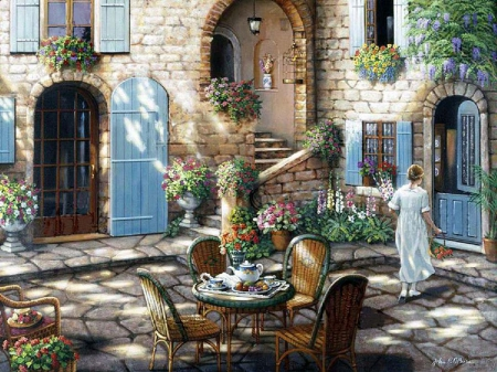 John O'Brien - flower, terrace, painting, art, door