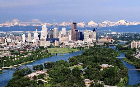 Calgary, Alberta - River, Mountains, Skyscrapers, Cityscape