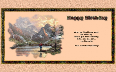 Birthday Friendship 2 - birthday, scenery, friendship, artwork, painting, art, wide screen