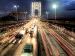 magnificent motion photo of the GW bridge in nyc hdr