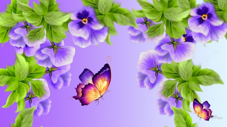 Violet Pansies - flowers, spring, summer, lavender, pansy, butterfly, fresh, lilac, purple, pansies, violet