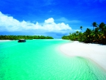 Lagoon Passage to One Foot Island Aitutaki Cook Islands Polynesia