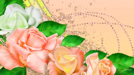 Peach rose summer flowers nature background wallpapers - Peach rose wallpaper ...