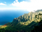 Na Pali Kalalua Lookout Kauai Hawaii - sea and cliffs