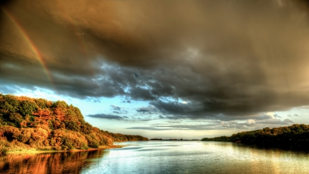 rainbow over the douglas river in england - rainbow, clouds, autumn, rain, forest, river