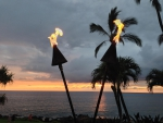 Hawaiian Tiki Torches evening dusk time at Waimea Maui Hawaii
